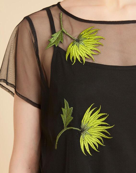 Tee-shirt noir transparent brodé fleurs Garden Hypnose PhotoZ | 1-2-3
