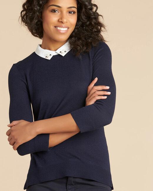 Tee-shirt marine col chemisier perles Noe (2) - 1-2-3