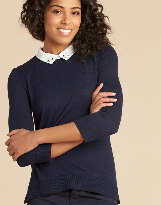 Marineblaues T-Shirt mit Hemdkragen und Perlendetails Noe (1) - 1-2-3