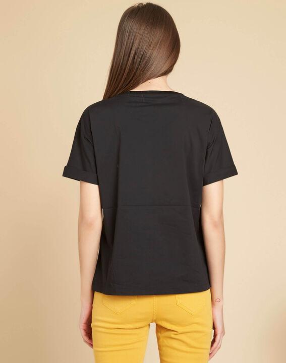 Schwarzes T-Shirt mit Blumen Garou (4) - 1-2-3
