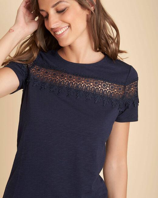 Marineblaues T-Shirt mit Stickereien Esun (2) - 1-2-3