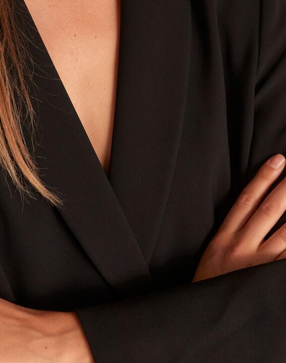 Schwarze, lange und gekreuzte Jacke aus Mikrofaser Florine (4) - Maison 123