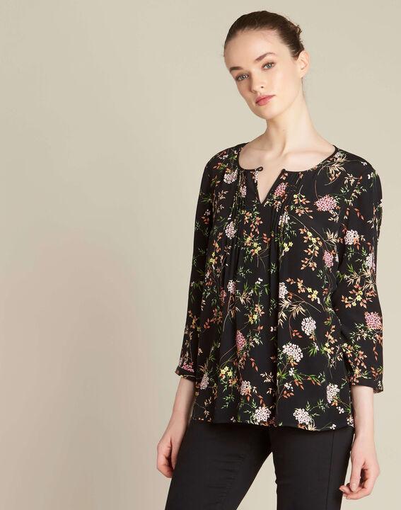Schwarze Bluse mit Blumenprint Anouchka (4) - 1-2-3
