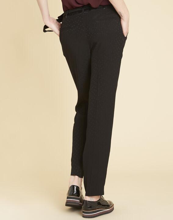 Zwarte broek van jacquard met stippen Harper (4) - 37653
