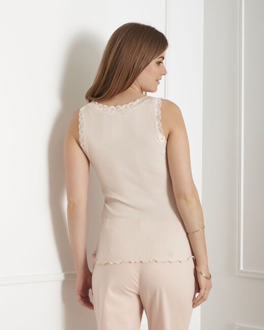 Guest nude vest top in cotton and silk with lace neckline (2) - 1-2-3