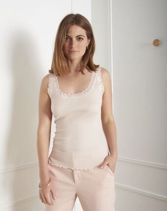 Guest nude vest top in cotton and silk with lace neckline salmon.