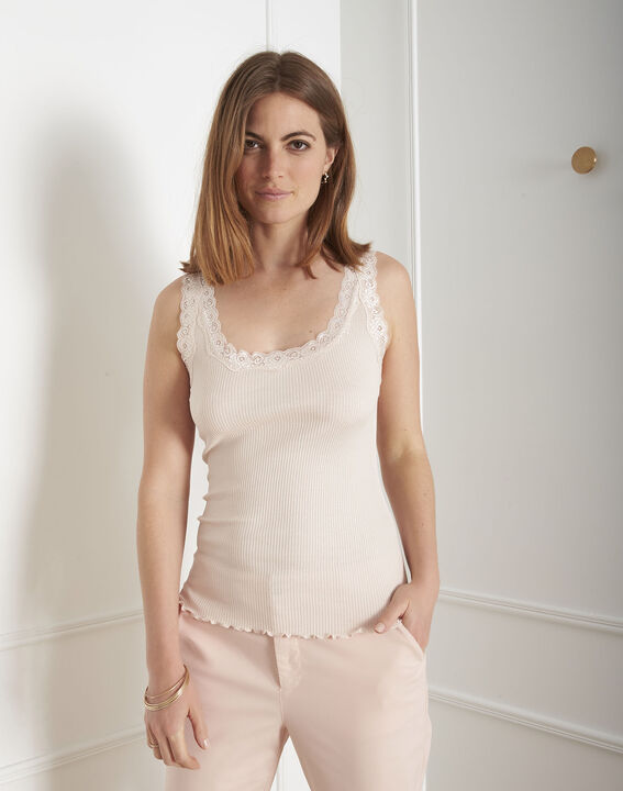 Guest nude vest top in cotton and silk with lace neckline (1) - 1-2-3