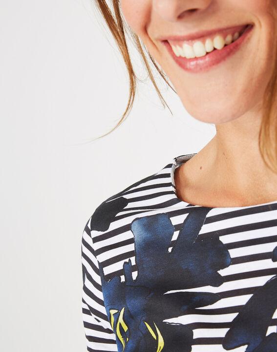 Tee-shirt rayé imprimé fleurs Botanique (4) - 1-2-3