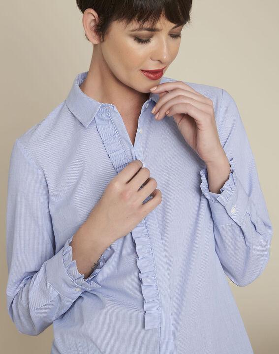 Blauw gestreept overhemd met volants Come (3) - 37653