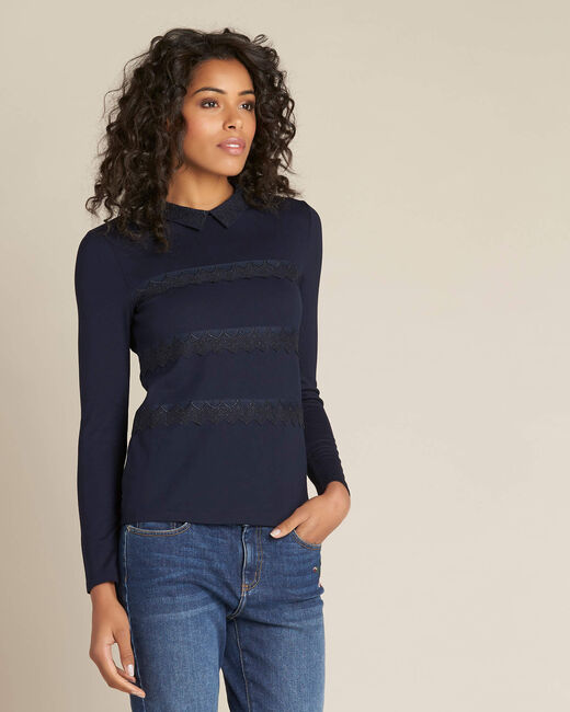 Ebeatrice long-sleeved embroidered blue T-shirt with shirt collar (2) - 1-2-3