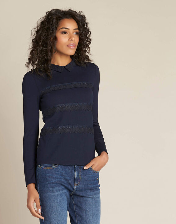 Ebeatrice long-sleeved embroidered blue T-shirt with shirt collar (3) - 1-2-3