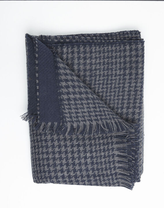 Feline grey checked wool scarf (3) - 1-2-3