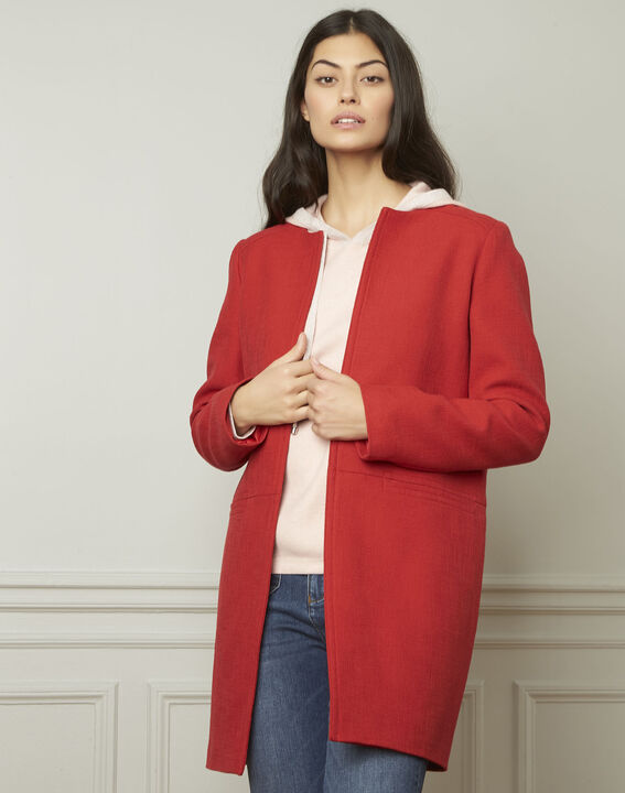 Daya red cotton blend coat (1) - Maison 123
