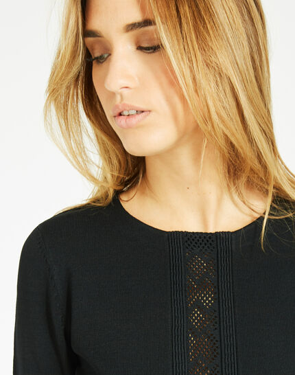 Pavlova black sweater with rounded neckline and lace insert! (3) - 1-2-3