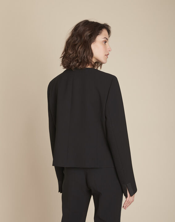 Charme black microfibre and grosgrain jacket (4) - Maison 123