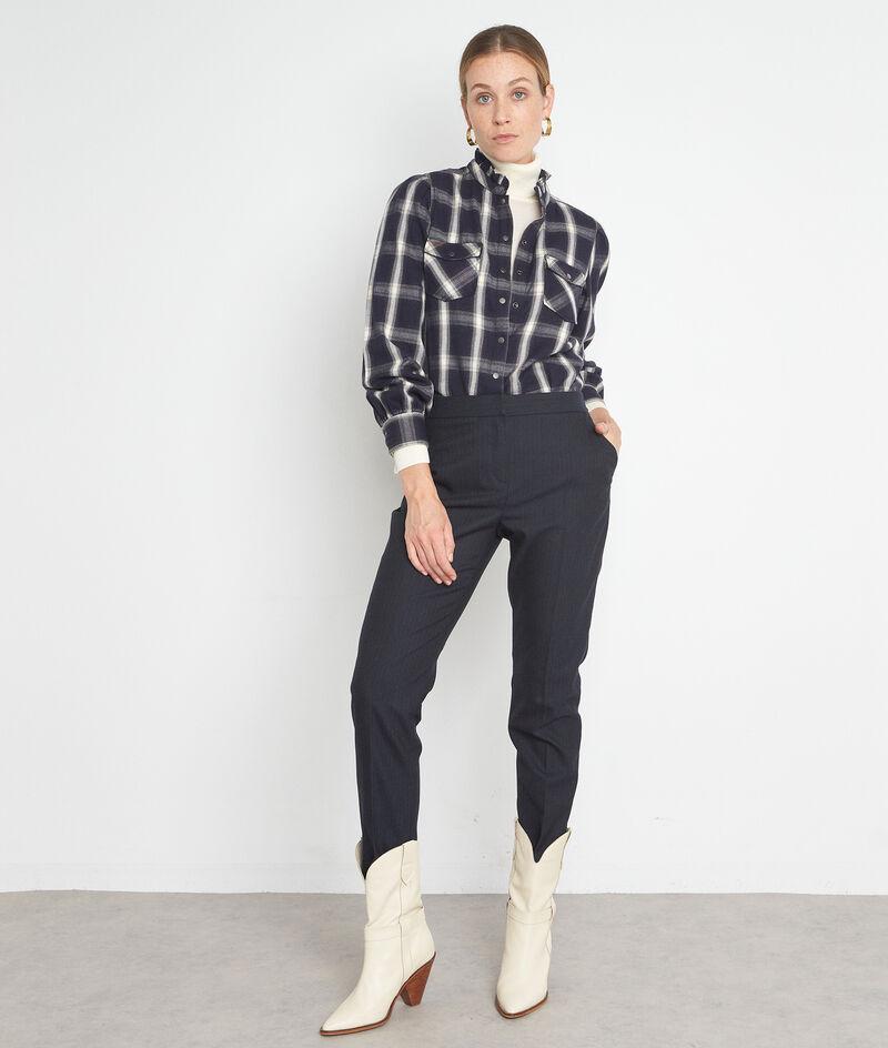 Pantalon ajusté à rayures fines bleu marine Felix  PhotoZ   1-2-3