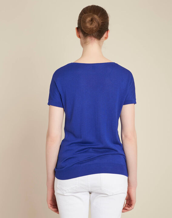 Never royal blue fine-knit sweater with openwork neckline (4) - 1-2-3