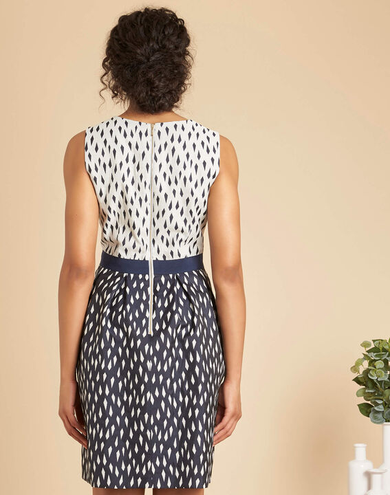 Isis diamond printed navy dress (4) - 1-2-3