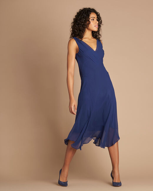 Robe indigo mi-longue dansante en soie Foret (2) - 1-2-3