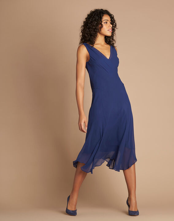 Robe indigo mi-longue dansante en soie Foret (3) - 1-2-3