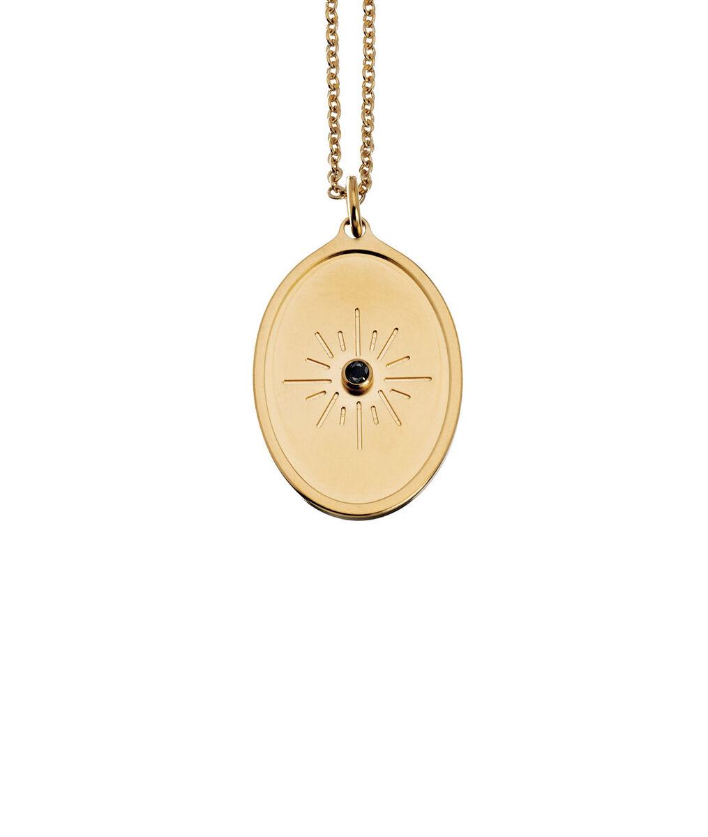 Collier médaille or éclat de zircon Bijoux Léone PhotoZ | 1-2-3