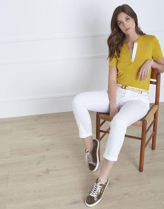 Pantalon blanc chino ceinture fantaisie Francis PhotoZ | 1-2-3
