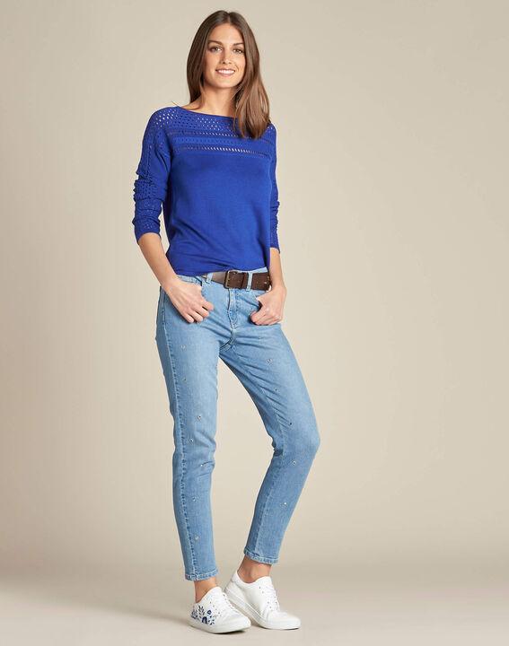 Nefle royal blue sweater with openwork neckline (2) - 1-2-3