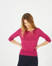 Pétillant raspberry sweater with metallic threading light fuchsia.
