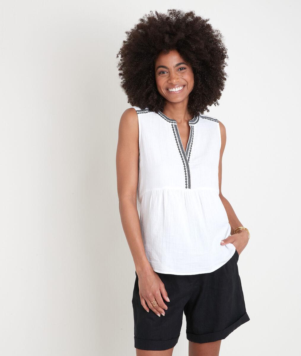 Witte mouwloze blouse met borduurwerk Alia PhotoZ | 1-2-3