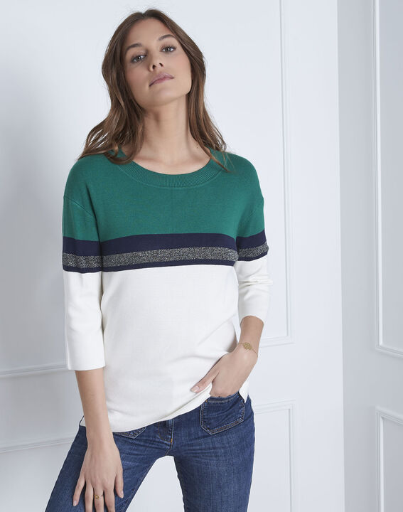 Absynthe green colourblock striped pullover PhotoZ | 1-2-3