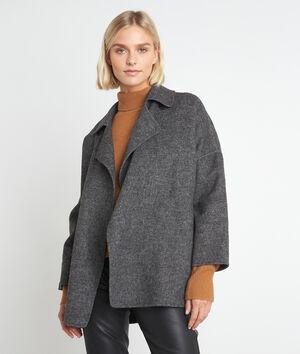 Manteau court en laine gris chiné Lucile