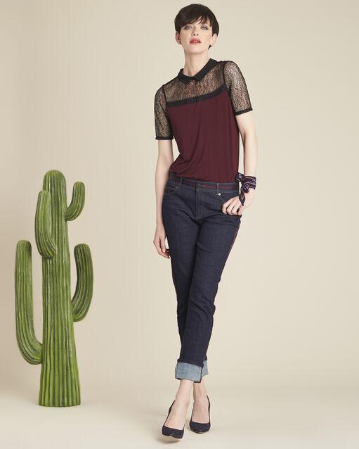 Tee-shirt rubis col claudine en dentelle Game (2) - 1-2-3