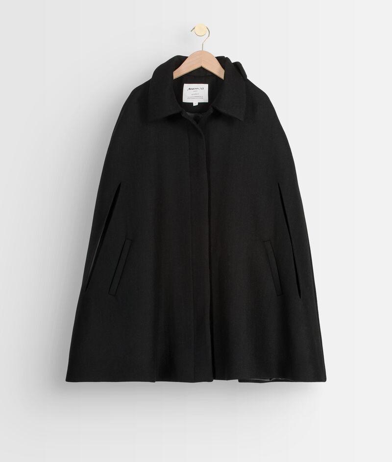 Cape élégante en laine recyclée noire Linette PhotoZ | 1-2-3