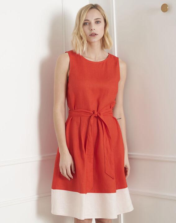 Rotes ausgestelltes Leinenkleid Lalie PhotoZ | 1-2-3