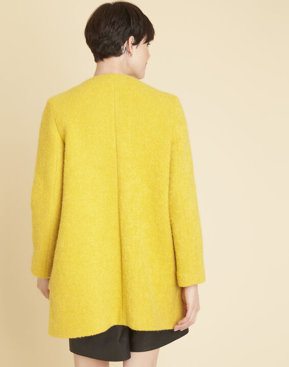 Emma yellow 3/4 length coat in a wool blend (4) - 1-2-3