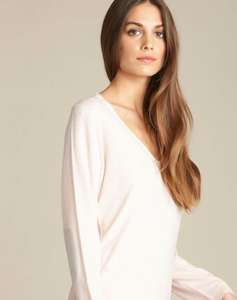 Newyork pale pink sweater in wool and silk with shiny neckline dark pink.