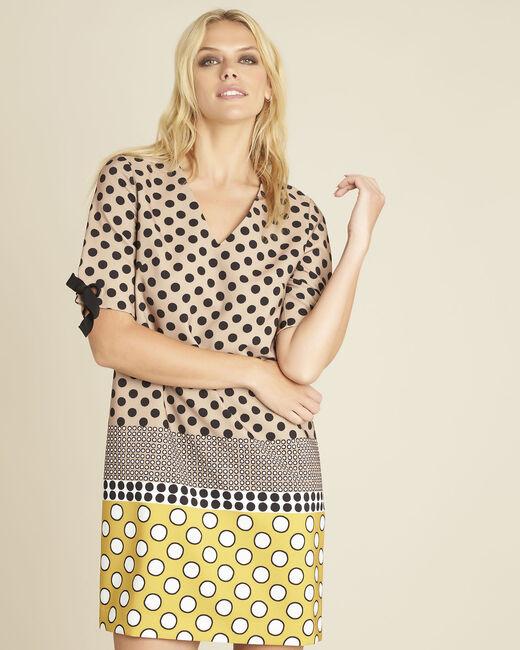Gele jurk met stippenprint Dakota (2) - 37653