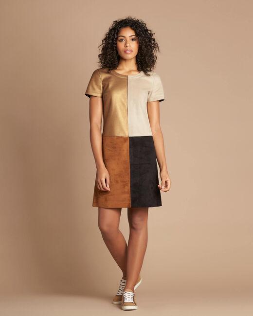 Goldbraunes Colorblock-Kleid in Animal-Optik Passion (1) - 1-2-3