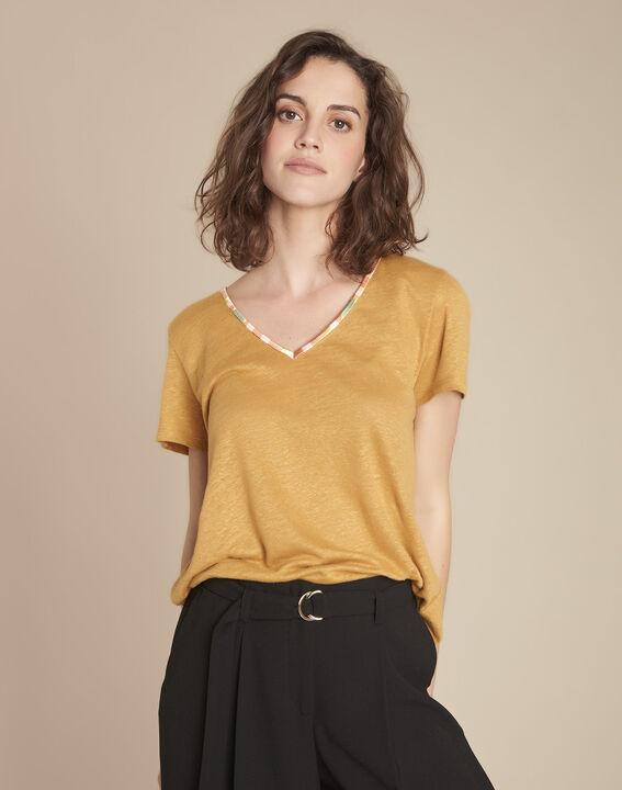 Tee-shirt jaune en lin Capri PhotoZ   1-2-3