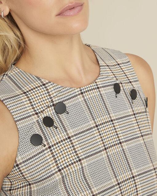 Robe droite imprimée carreaux détails boutons Dakar (1) - 1-2-3