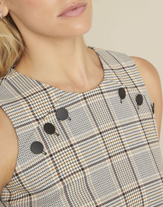 Dakar straight-cut check printed dress with buttons (2) - 1-2-3