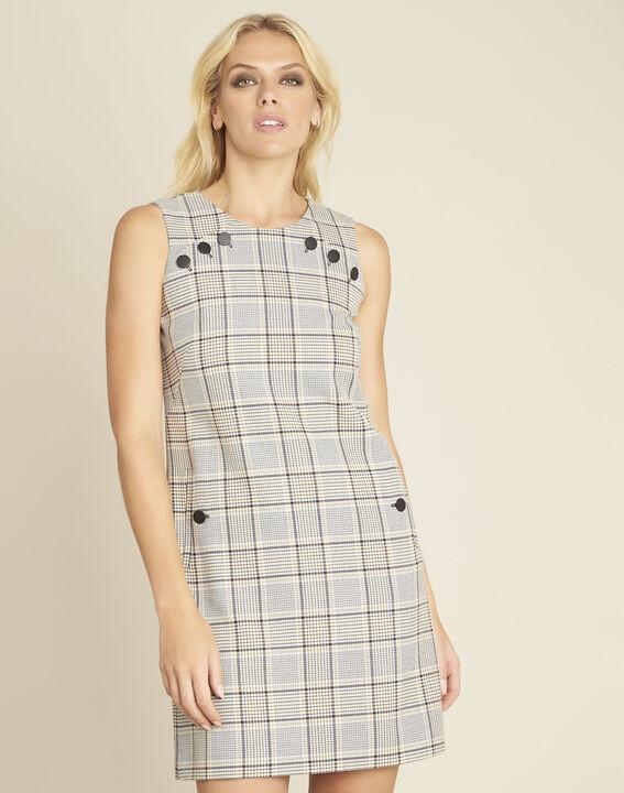 Rechte jurk met ruitjesprint en knopendetails Dakar PhotoZ | 1-2-3