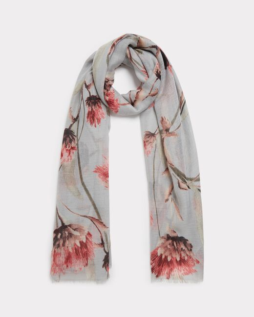 Essia pale grey scarf with floral print (1) - 1-2-3