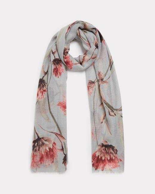 Foulard gris pâle fleuri Essia (1) - 1-2-3