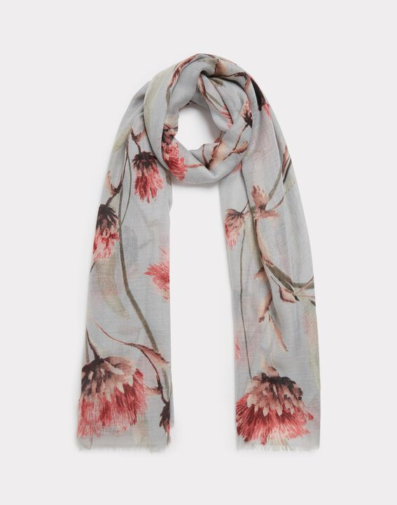 Foulard gris pâle fleuri Essia PhotoZ | 1-2-3