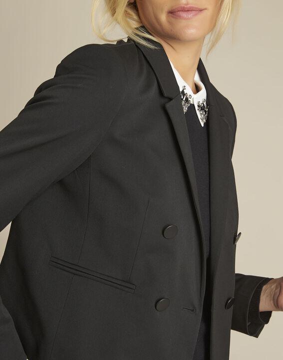 Zweireihige kurze schwarze Jacke Sarah (3) - 1-2-3