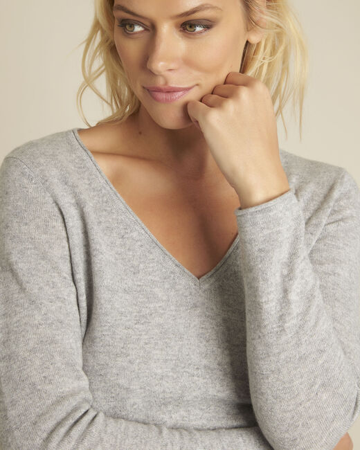 Badiane grey cashmere pullover with V-neck (1) - 1-2-3