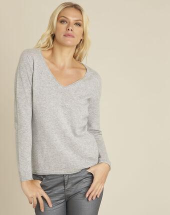 Badiane grey cashmere pullover with v-neck light chine.
