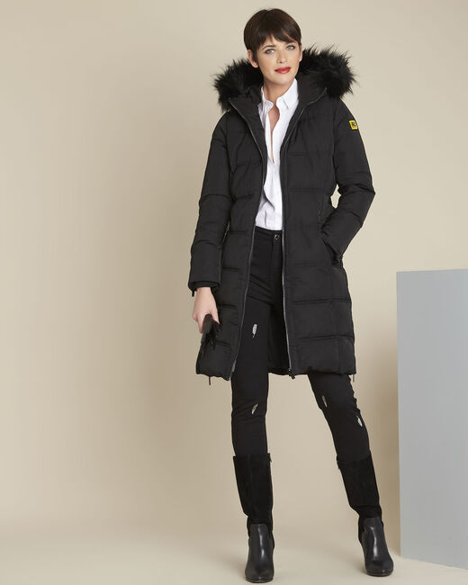 Pipa long black hooded down jacket (1) - 1-2-3