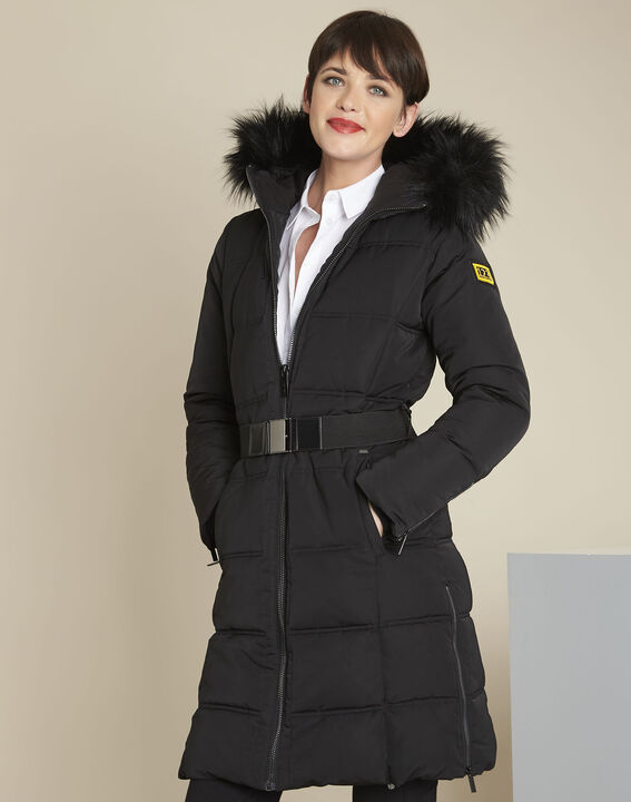 Pipa long black hooded down jacket (1) - Maison 123